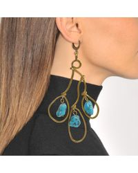 Marni - Multicolor Asymmetrical Earrings With Pendant Stone In Light Blue Resin - Lyst