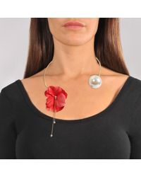 Anton Heunis - Coral Red Flower And Pearl Necklace In Coral Red And Gold Metal - Lyst