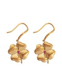 Aurelie Bidermann | Metallic Fine Jewellery - 18k Gold Clover Earrings With Ruby Stones | Lyst