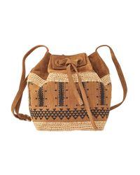 Vanessa Bruno | Brown Linen And Suede Drawstring Shoulder Bag | Lyst