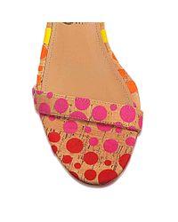 Ferragamo - Multicolor Angie Cork Dot Naked Sandal - Lyst