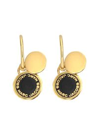 Marc Jacobs | Black Enamel Logo Disc Earrings | Lyst