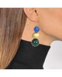 Tory Burch - Blue Beaded Linear Earring - Lyst