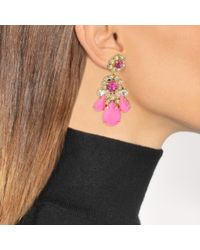 Shourouk - Ds Neon Pink Earrings In Pink Brass And Swarovski Crystals - Lyst