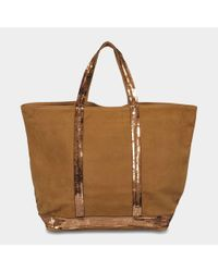 Vanessa Bruno - Brown Washed Leather And Sequins Medium + Tote - Lyst