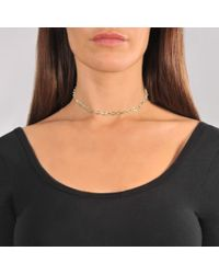 Saskia Diez - Metallic Barbelle Choker Necklace In 18k Gold-plated Silver - Lyst