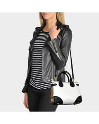 52daf15a5ed2 Burberry Small Banner Bag In Black And White Grained Calfskin in ...