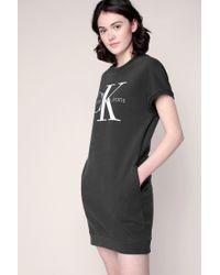 Calvin Klein | Gray Knitwear Dress | Lyst