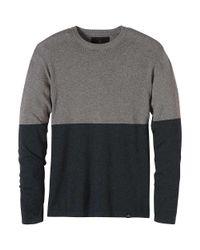 Prana - Gray Colorblock Sweater Crew for Men - Lyst