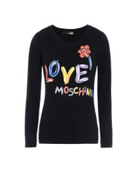 Love Moschino | Black Long Sleeve T-shirt | Lyst