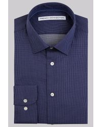 French Connection | Blue Slim Fit Navy Single Cuff Square Texture Shirt for Men | Lyst