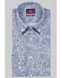 Moss Esq. | Blue Regular Fit Grey And Navy Single Cuff Paisley Double Collar Shirt for Men | Lyst