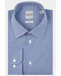 Hardy Amies - Blue Slim Fit Navy Single Cuff Dobby Check Shirt for Men - Lyst