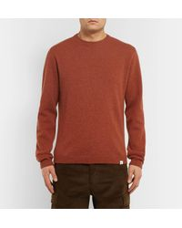 Norse Projects - Orange Sigfried Brushed-wool Sweater for Men - Lyst