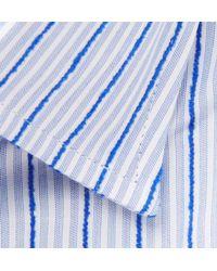 Etro - Blue Slim-fit Striped Fil Coupé Cotton Shirt for Men - Lyst