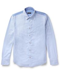 Rag & Bone - Blue Slim-fit Button-down Collar Two-tone Cotton Oxford Shirt for Men - Lyst