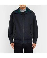 Burberry - Blue Cotton-gabardine Hooded Bomber Jacket for Men - Lyst