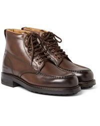 Tom Ford - Brown Burnished-leather Hiking Boots for Men - Lyst