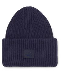 Acne - Blue Appliquéd Ribbed Wool-blend Beanie for Men - Lyst