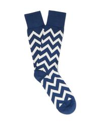 Paul Smith - Blue Chevron-patterned Cotton-blend Socks for Men - Lyst
