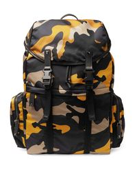 Valentino - Blue Leather-trimmed Camouflage Shell Backpack for Men - Lyst