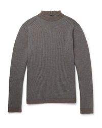 Giorgio Armani - Gray Wool-blend Sweater for Men - Lyst