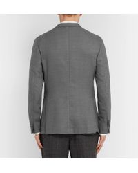 Boglioli Gray Grey Unstructured Virgin Wool-blend Blazer for men