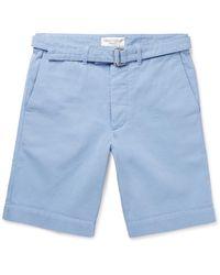 Officine Generale - Blue Julian Cotton-twill Shorts for Men - Lyst