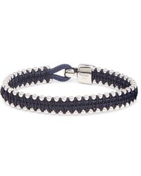 Miansai - Blue Turner Cord And Rhodium-plated Sterling Silver Bracelet for Men - Lyst