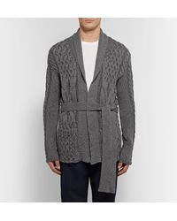 Eidos Gray Shawl Collar Cable-knit Cotton And Cashmere-blend Cardigan for men