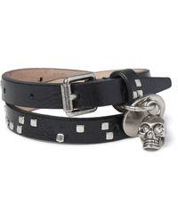 Alexander McQueen | Black Leather And Metal Skull Wrap Bracelet for Men | Lyst