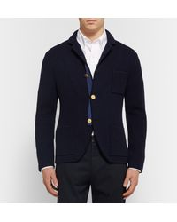 Thom Browne - Blue Ribbed Wool Cardigan for Men - Lyst