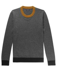 Club Monaco - Gray Contrast-trimmed Cashmere Sweater for Men - Lyst