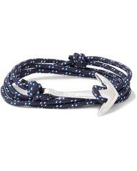 Miansai | Blue Anchor Cord Silver-plated Wrap Bracelet for Men | Lyst