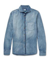 Brunello Cucinelli - Blue Slim-fit Cutaway-collar Washed-denim Shirt for Men - Lyst
