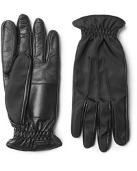 Prada | Black Cashmere-lined Leather And Twill Gloves for Men | Lyst