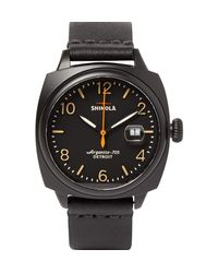 Shinola | Black The Brakeman 40mm Stainless Steel And Leather Watch for Men | Lyst