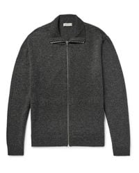 COS - Gray Mélange Wool Zip-up Cardigan for Men - Lyst