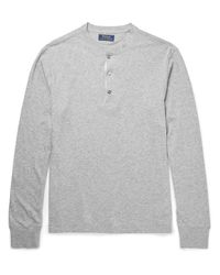 Polo Ralph Lauren | Gray Mélange Cotton-jersey Henley T-shirt for Men | Lyst