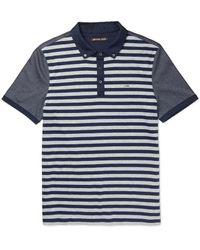 Michael Kors - Blue Slim-fit Striped Cotton-jersey Polo Shirt for Men - Lyst