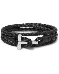 Tom Ford - Black Woven Leather And Palladium-plated Wrap Bracelet for Men - Lyst