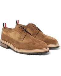 Thom Browne - Brown Suede Longwing Brogues for Men - Lyst