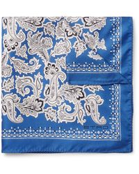 Etro   Blue Printed Silk-twill Pocket Square for Men   Lyst