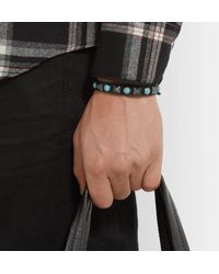 Valentino - Black Leather, Silver-tone And Stone Bracelet for Men - Lyst