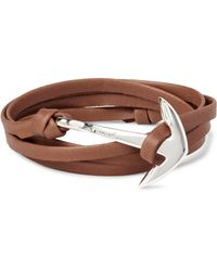 Miansai | Brown Anchor Leather Silver-plated Wrap Bracelet for Men | Lyst