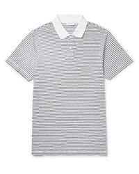 Sunspel | White Slim-fit Striped Cotton-jersey Polo Shirt for Men | Lyst