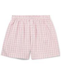 Sunspel | Orange Checked Cotton Boxer Shorts for Men | Lyst
