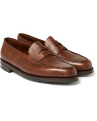 John Lobb - Brown Lopez Pebble-grain Leather Penny Loafers for Men - Lyst