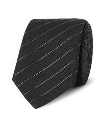 Saint Laurent | Black 5.5cm Striped Cotton-blend Tie for Men | Lyst