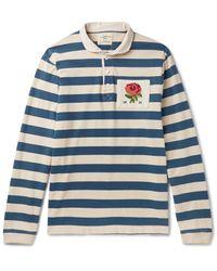 Kent & Curwen | Blue Appliquéd Striped Cotton-jersey Polo Shirt for Men | Lyst